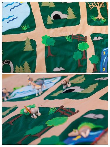 Zoo playmat with habitats for many animals