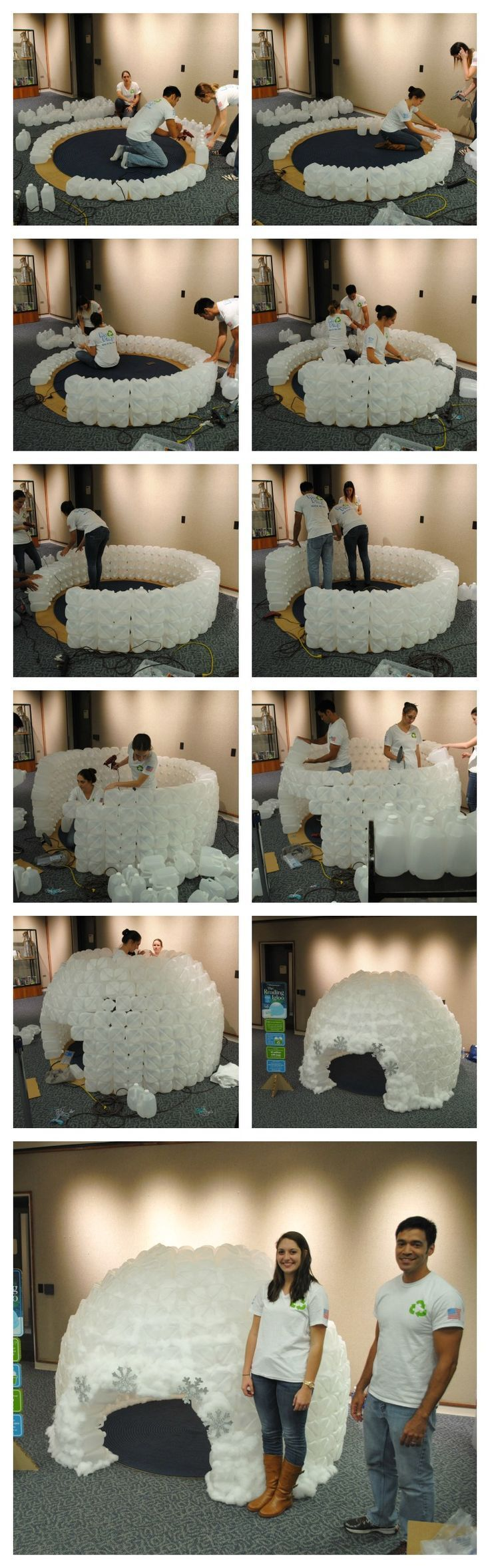 This milk jug reading Igloo was made with 430 milk jugs by /replayrecycled/. It took about 4 ppl and five hours to build. It now resides at Down Town Orlando's public Library. This is such a fun craft to make for a class room/library. Kids absolutely love it.