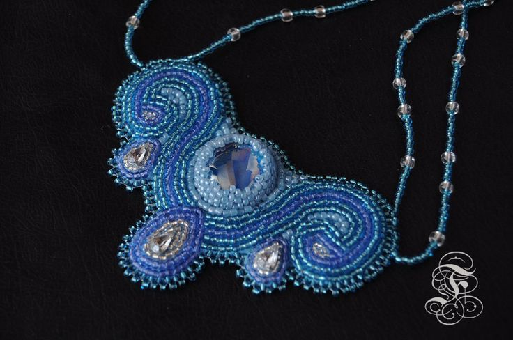 Bead embroidery Necklace Light Blue Candelabra by Fantasmat