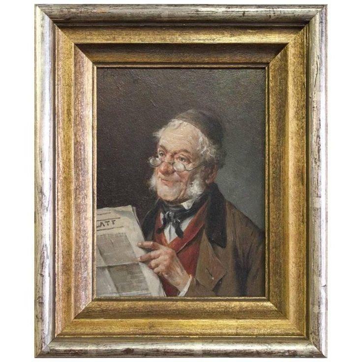 Lajos Kolozsváry Portrait Painting - Scholar Reading Newspaper