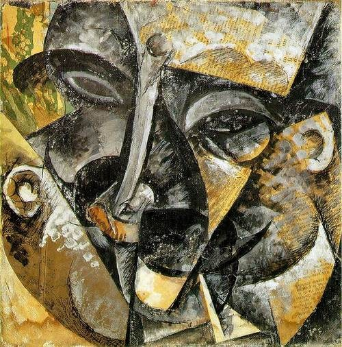 Boccioni, Umberto    [Italian Futurist Painter and Sculptor, 1882-1916]  Dynamism of a Man's Head  1914  Pasted papers, watercolor, gouache, ink,  and oil on canvas  Civico Museo d'Arte Contemporanea,   Palazzo Reale, Milan