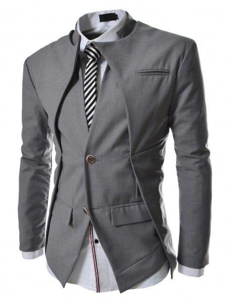 Doublju - Blazer Jacket Slim Gola Dupla Compre roupas de qualidade, com design inovador e preço justo!