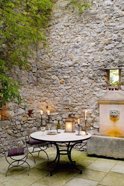 ♔ French stone outdoor dining area