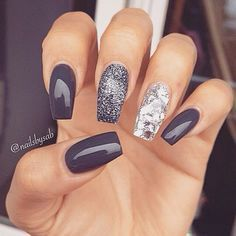 Grey, silver and gunmetal glitter - maybe switch the middle and index finger?? Nice. Nail Design, Nail Art, Nail Salon, Irvine, Newport Beach