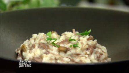 Risotto de confit de canard au beurre de truffe et champignons
