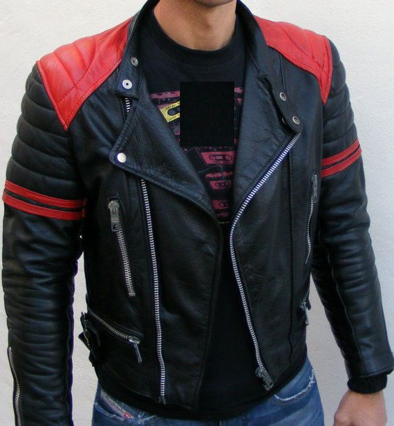 Men Black And Red Leather Jacket With Quality Leather jacket, Men leather jacket #Handmade #BasicJacket