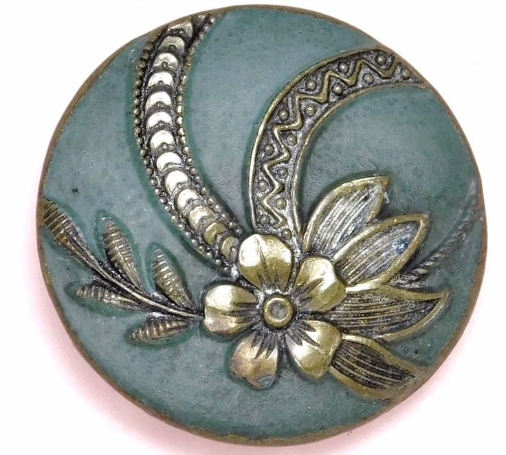 ANTIQUE Vintage  Button Green Cold Painted Enamel VICTORIAN Brass with FLOWERS #78