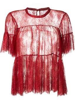 полупрозрачная блузка с оборками