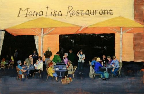 """Daily Paintworks - """"Mona Lisa Restaurant"""" by Jean Nelson"""