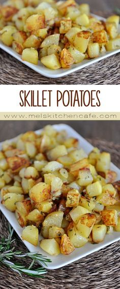 These golden skillet potatoes are simple, quick and a really delicious side dish to add to your dinner repertoire.