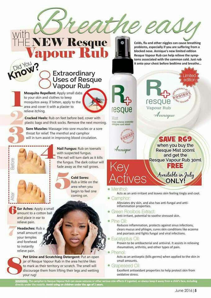 Good news!!!  Annique just launched Resque Vapour Rub. This month FREE when you buy the Resque Mist.   Extraordinary uses: Mosquito Repellent  Cracked heals Nail fungus Cold sores Ear ache Pet Urine and Scratching detergent