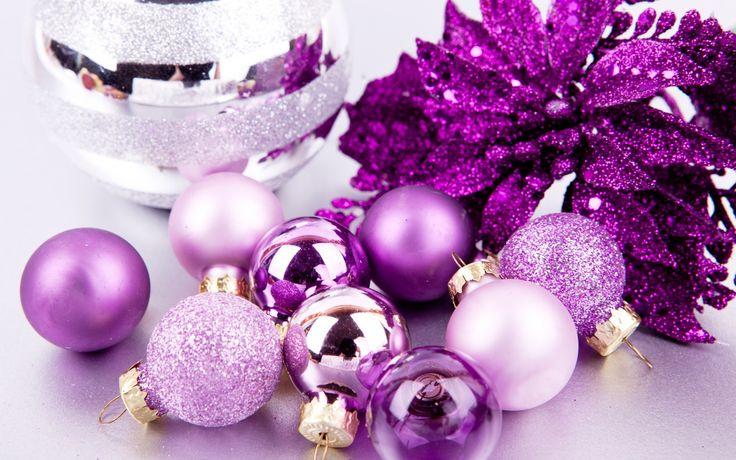 Скачать обои шарики, шары, фиолетовые, сиреневые, раздел новый год в разрешении 1680x1050