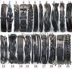 Handmade optional Wholesale (6pcs/lot) black genuine adjustable wrap leather bracelets men pulseiras de couro free shipping-in Charm Bracelets from Jewelry on Aliexpress.com   Alibaba Group