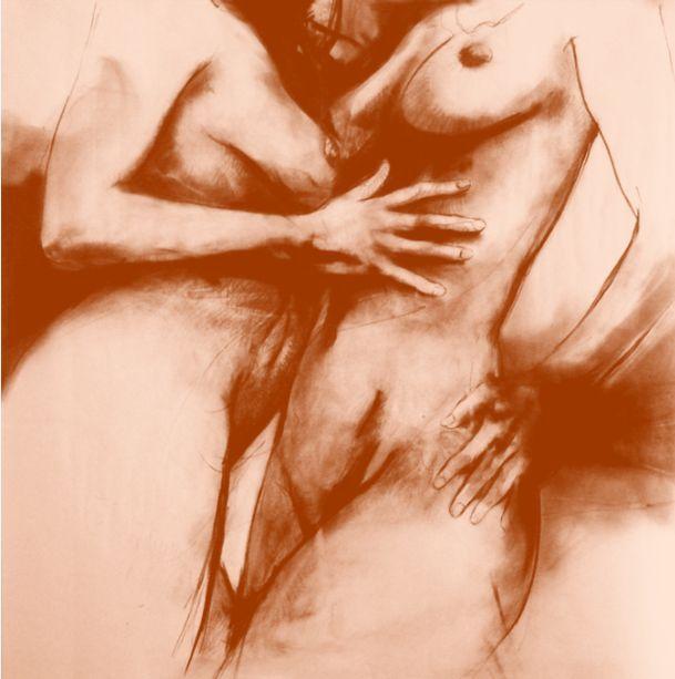 """lapiz sanguina, de la serie """"Anforas"""", dibujos de gran formato en alusión a la obra de Luis Caballero, 2012."""