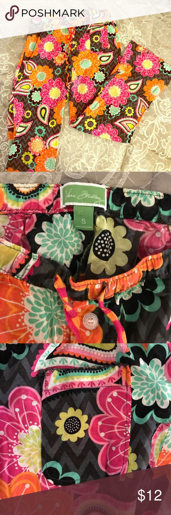Vera Bradley Ziggy Zinnia sleep pants So cute!!  These pajama bottoms are great for summer because they are so light.  Very comfy.  Elastic waste band.  Size small.  Excellent used condition. Vera Bradley Intimates & Sleepwear Pajamas