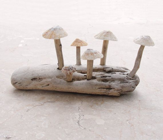 Mushroom Driftwood Sculpture Woodland display, Beach Decor on Etsy, £22.24