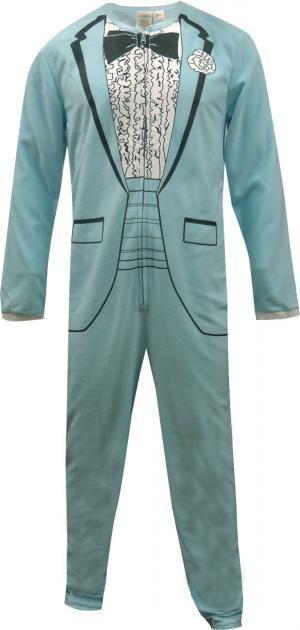 1970s Baby Blue Tuxedo Onesie Pajama
