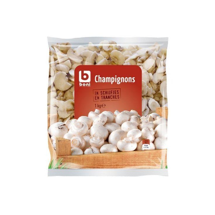 BONI SELECTION champignons tranches 1kg, €3.85 BONI SELECTION champignons tranches facile à doser. Accompagne parfaitement vos viandes et peut être utilisé comme garniture sur vos pizza maison pour une sauce champignon à la crème ou vos potages et soupes. Livraison légumes réception