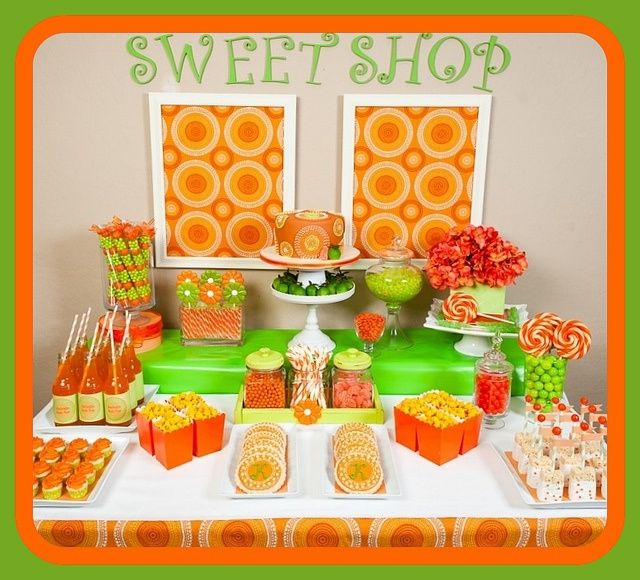 Layla's Wedding Board: Citrus Orange/Green Candy/Dessert Buffet by SugarPlumDesigns, via Flickr  ~Lori Cole for California Bridal Eventz