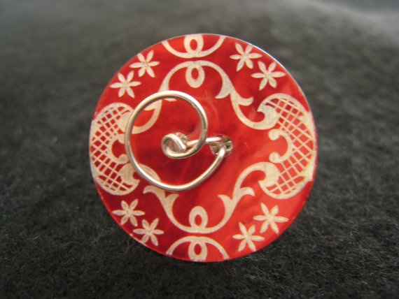 Sterling Silver and Red Shell Ring by ZaZing on Etsy, $35.00
