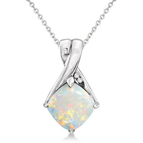 7 best pendant settings images on pinterest pendant pendants and diamond and cushion opal pendant necklace 14k white gold 136ct aloadofball Images