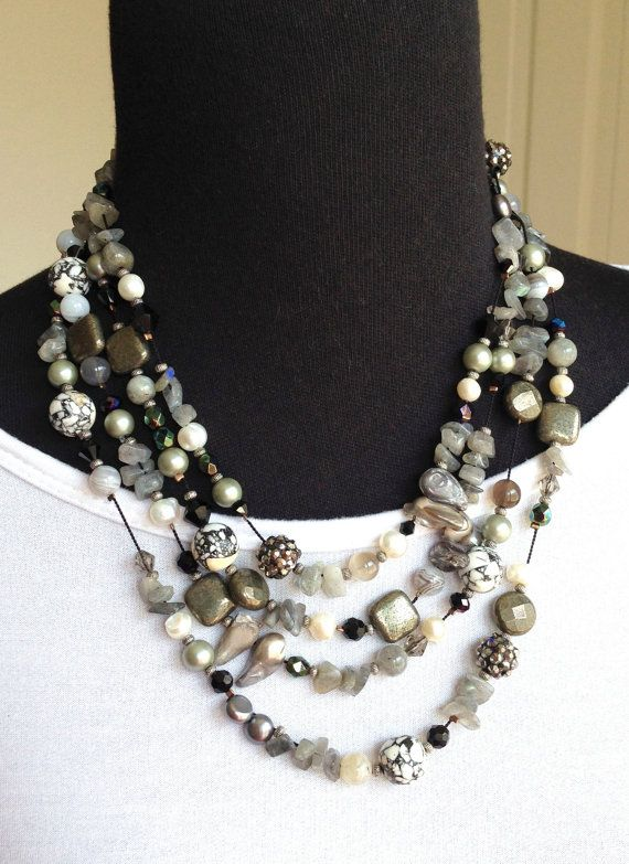 Beaded necklace jewelry, Chunky bold necklace, multi strand beaded necklace, women black and white necklace, OOAK