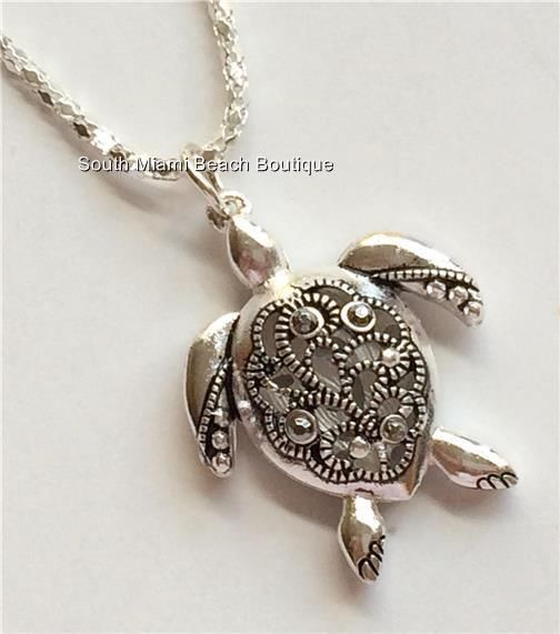 Silver Crystal Sea Turtle Necklace Filigree Crystals Pendant Sea Life USASeller #SouthMiamiBeachBoutique #Pendant