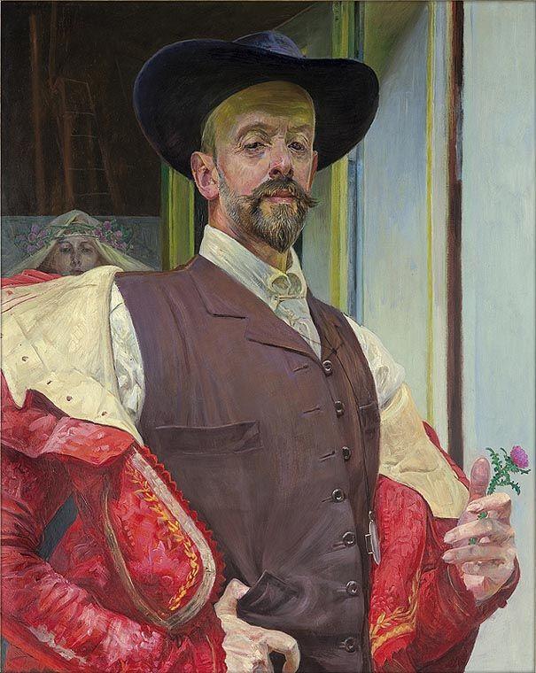 Malczewski -Autoportret z kwiatem ostu