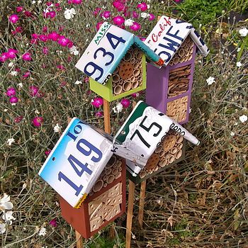 Custom License Plate Roofed Bee Hotel - how fun is this for the garden
