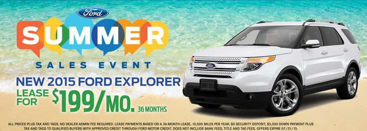 Summer Sales Event Going On Right Now! New 2015 ‪#‎Ford‬ Explorer Lease For $199 Month! http://www.gusmachadoford.com/ ‪#‎Miami‬ ‪#‎Kendall‬ ‪#‎Hialeah‬
