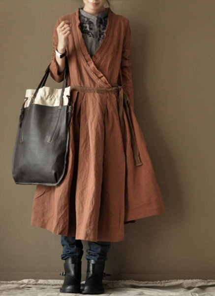 Old Orange color linen dress loose cotton by clothestalking