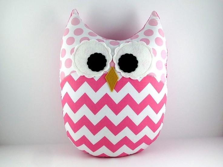 Chevron Pink Pillow Large Plush Owl