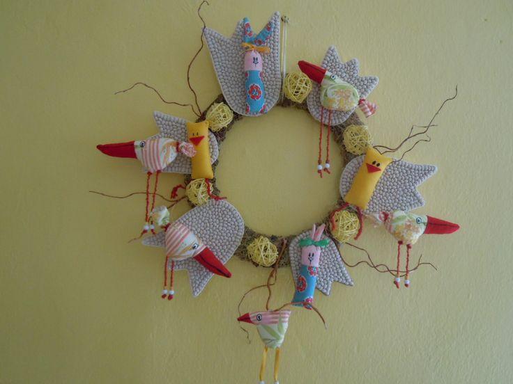 Wreath - bean tulips, textile animals and birds-My own original designs - Facebook.com/Zdenka Quilling
