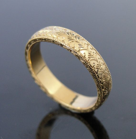 Fine Hand Engraved 18k Yellow Gold Band Wedding Ring by MSJewelers, $1245.00