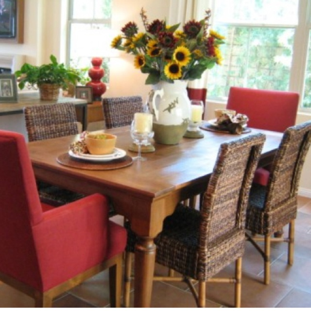 Mixed Chairs Used In Dining Room Not Theses Colors But Love The Idea Of Using