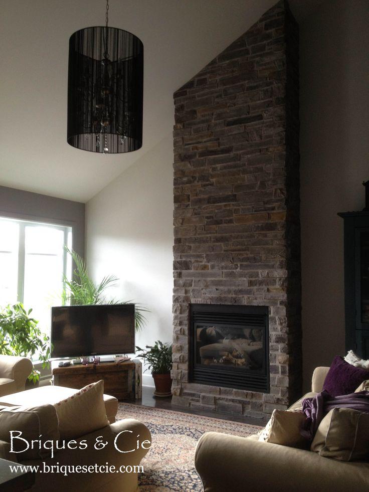 #Cultured stone, #prostone, #fireplace, #thin stone veneer, #home, #pierre décorative, #foyer, #pierre foyer, #projet déco, #revêtement mural
