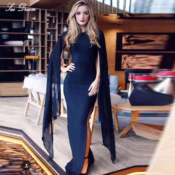 2016 Autumn Winter Newest! Elegant Graceful Mesh Batwing silk Cape Sleeve Long Dress Vintage Maxi Celebrity Party Bandage Dress-in Dresses from Women's Clothing & Accessories on Aliexpress.com | Alibaba Group