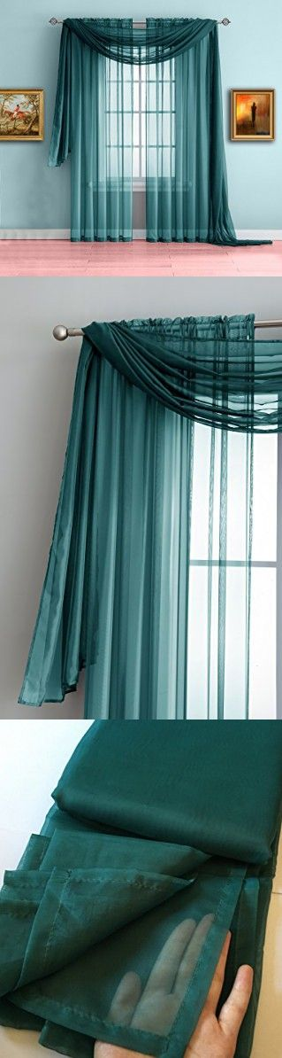 Warm Home Designs Teal Sheer Window Curtains. Each Voile Drape Is 56 X 84 Inches in Size. Great for Kitchen, Living Room, Bedroom, Kids Room or Office. 2 Fabric Panels Included. Color: Teal 84""