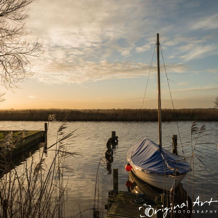 Boat at sunset on the river Thurne in #Norfolk #landscape #photography #sunsetphotography