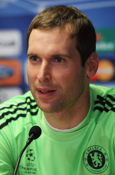 Petr Cech Photos Photos - Goalkeeper Petr Cech speaks during the Chelsea press conference, ahead of the UEFA Champions League Group F match against MSK Zilina, at the Pod Dubnom Stadium on September 14, 2010 in Zilina, Slovakia. - Chelsea Training Session