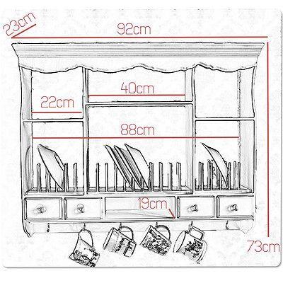 Wandregal Tellerregal Regal Landhaus Vintage Küche Küchenregal Ablage weiß antik 5 • EUR 94,90