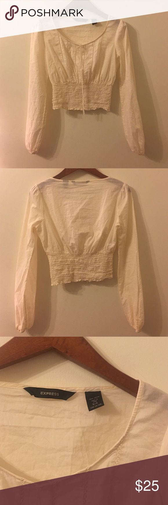 Express Festival Crop Size 5/6 Small In Great Condition! Super cute and flirty  Slighty off-white Express Tops Crop Tops