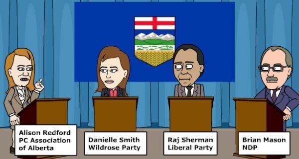 Alberta leaders debate, as depicted through Bitstrips for Schools.