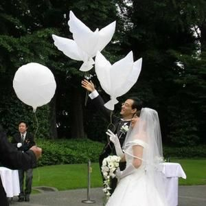 BALLON DÉCORATIF  10pcs 105*52cm pigeons colombe ballons blanc alumi