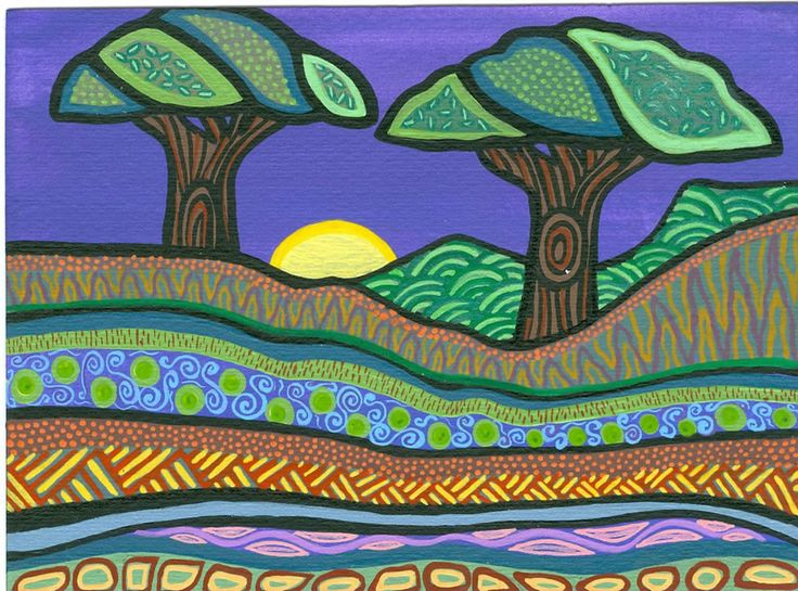 Bronwyn Bancroft. Aboriginal artist and illustrator.   I love some of her early work which uses rich blues, purples, greens and lots of patterns developed from more traditional indigenous artists