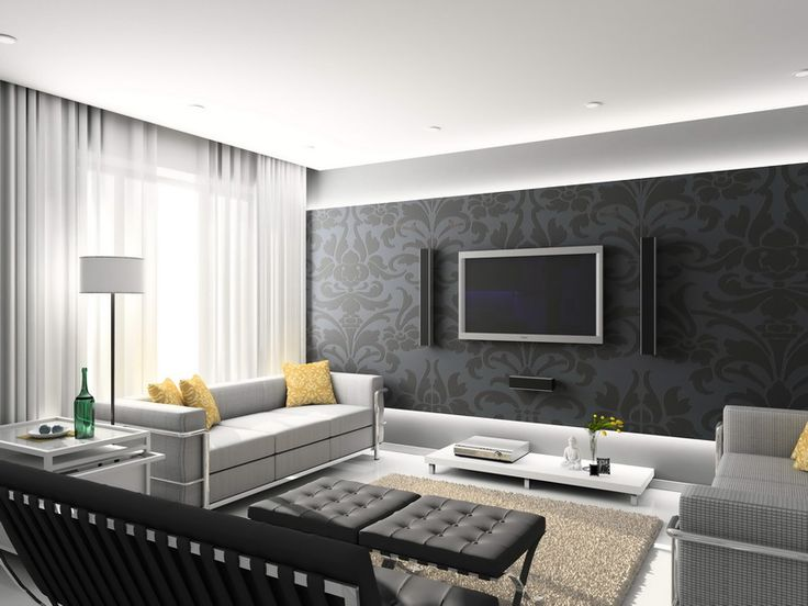 Decorations. Terrific Design Of Family Living Room Paint With White And Grey Wall Paper Plus White Sofa Set With Foams Seat And Square Arm Set With Yellow Patterned Cushion Furthermore Squared Area Rug With Black Ottoman Table.
