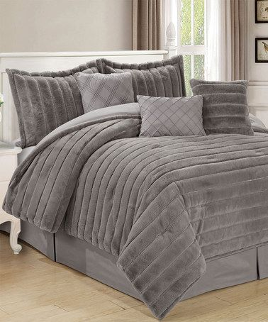 Another great find on #zulily! Silver Faux Rabbit Fur Comforter Set #zulilyfinds
