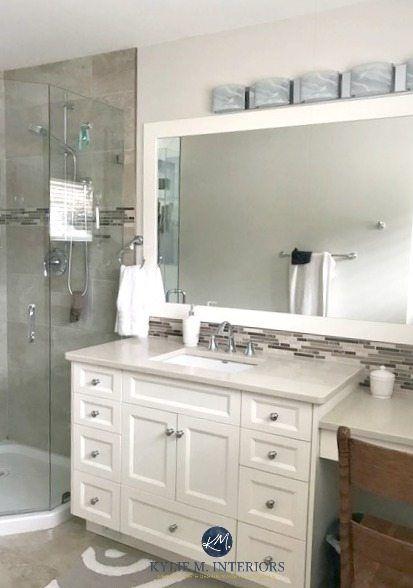 Benjamin Moore Ballet White Best Neutral Paint Colour, Cream Bathroom Vanity.  Kylie M INteriors