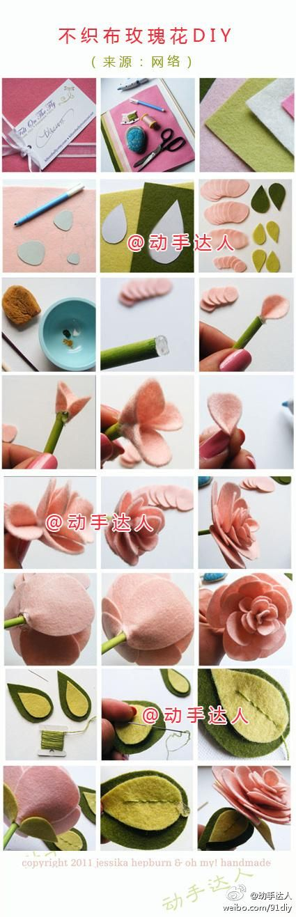 DIY fabric flowers 324 best Handmade flowers
