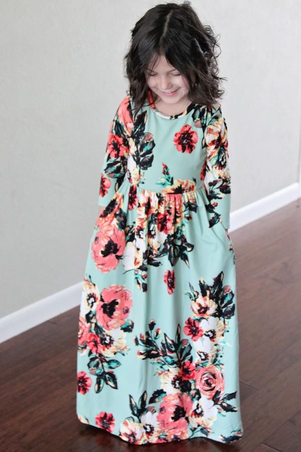 long modest maxi dress for girls sizes 4 through 12 floral print navy color side view
